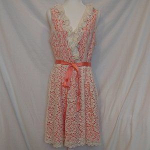 Jessica Howard White Lacy Flower Orange Dress
